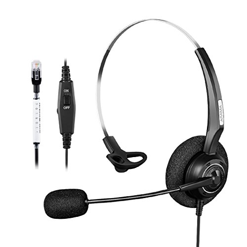 Arama Corded Call Center Telephone Mono Headset with Noise Canceling Mic & Volume Control Mute Switch for Plantronics Polycom NEC Aspire Dterm Nortel Norstar Meridian ShoreTel Siemens (M3905 Call Center)