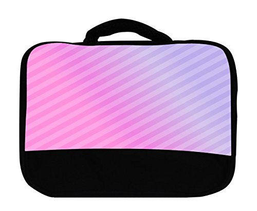 Pink Diagonal Lines Gradient Canvas Lunch Bag by Moonlight Printing