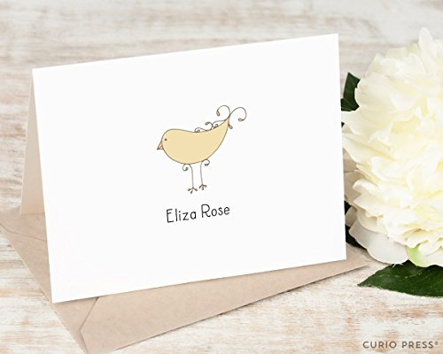 Lined Pointed Flap - DARLING BIRD FOLDED - Personalized Animal Stationery / Stationary Notecard Set