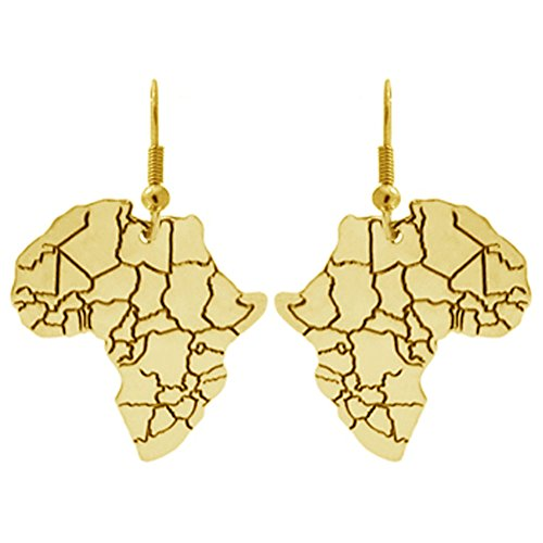100% Nickel Free Africa Pendant Jewelry, Ours Alone! Made in USA!, Gold Tone Earrings in Gold Tone with Antique Finish