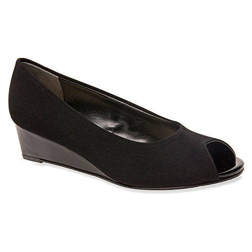 Ros Hommerson Womens Paula Wedge Shoes Black Microtouch Lb5HWe8