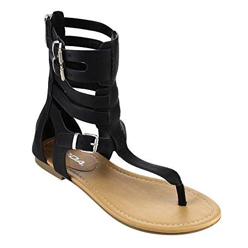 Beston Soda Ronald Dames T-strap Caged Buckled Platte String Sandalen One Size Larger Black