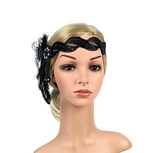 Women 1920s Flapper Headband Roaring 20s Great Gatsby Headpiece Peacock Feather Flapper Gatsby Costume -