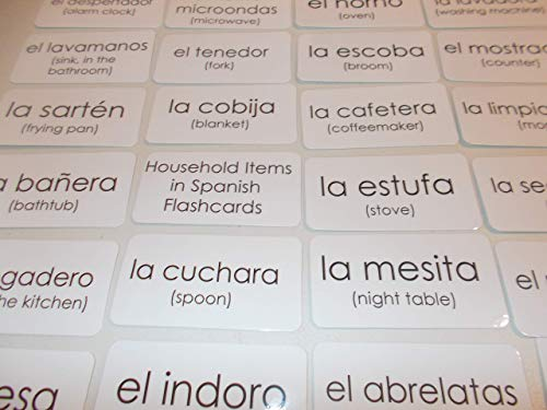 75 Laminated Household Items in Spanish Flashcards -