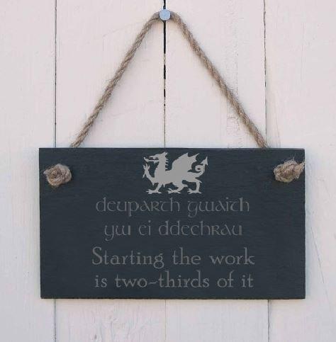 Bi-lingual Welsh slate hanging sign -