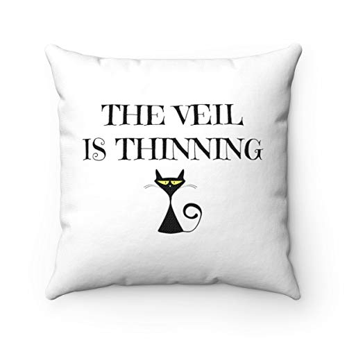 Dozili Samhain Decoration Witchy Pillow Black Cat Spun Polyester Square Halloween Decorative Pillow for Pagans and Mediums