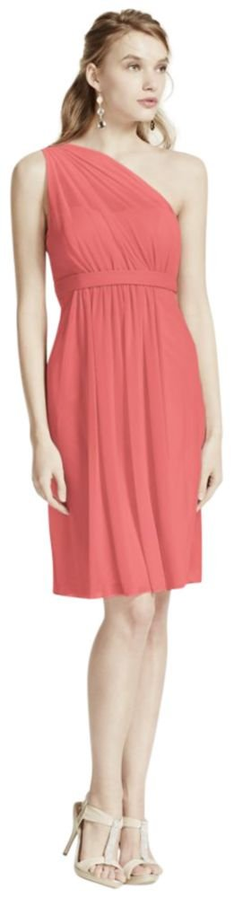One Shoulder Short Bridesmaid Dress with Illusion Neck Style F15607, Coral... by David's Bridal
