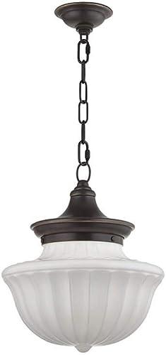 Hudson Valley Lighting 5012-OB Dutchess – One Light Medium Pendant, Old Bronze Finish with White Glass