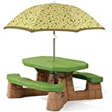 Step2 Naturally Playful And Picnic Table With Umbrella For Kids   Durable  Outdoor Patio Children Table Bench Set, Leaf