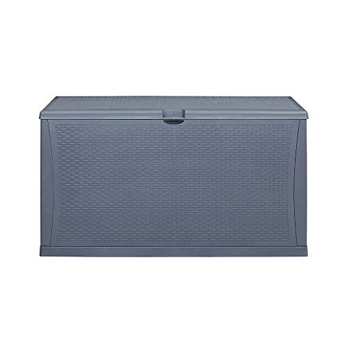 KOOLWOOM Deck Box, 120-Gallon Patio Outdoor Plastic Storage 47.2″ L x 24.01″ W x 24.80″ H Waterproof Grey