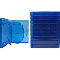 (10) Empty 22mm Thick 6 Disc Capacity - Blue Replacement Boxes / Cases for Blu-Ray DVD Movies - Holds 6 Discs BR6R21B
