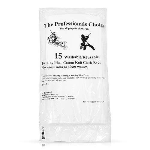 (The Professional's Choice Pistol/Rifle Cotton Knit Gun Cleaning Cloth Rags (15-Pack), 14 x 14-Inch )