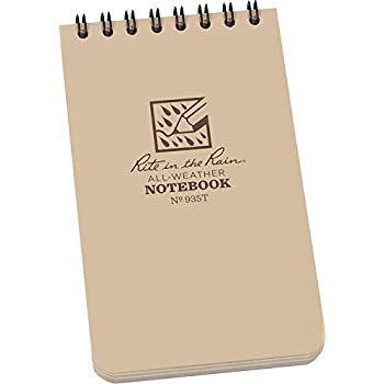 """Rite in the Rain All-Weather Top-Spiral Notebook, 3"""" x 5"""", Tan Cover, Universal Pattern (No. 935T)"""