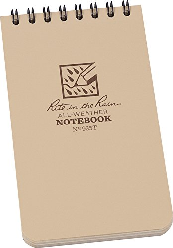 Rite in the Rain All-Weather Top-Spiral Notebook, 3' x 5', Tan Cover, Universal Pattern (No. 935T)