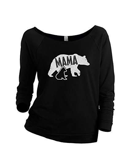 Thread Tank Mama Bear Women's Slouchy 3/4 Sleeves Raglan Sweatshirt Black Medium (Christmas Jumper Care Bear)