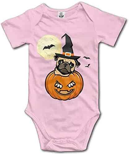 d0bc1fb75 Halloween Pug Dog Funny Toddler Baby Outfit Creeper Short Sleeves Jumpsuits