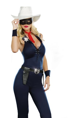 Dreamgirl Lone Cowgirl, Blue, Large (Lone Cowboy Adult Costume)