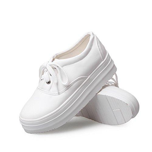 Womens BalaMasa Bandage Imitated Pumps Solid White Shoes Leather dqFOwqx