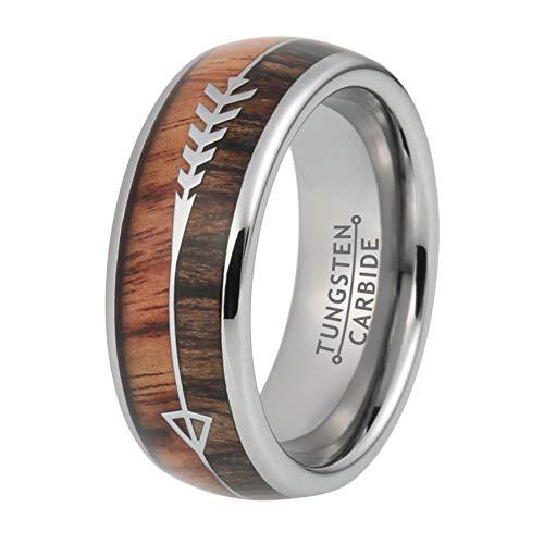 Wow Jewelers 8mm Tungsten Rings for Men Women Wedding Bands Koa Wood Arrow Inlay Hunting Native American Jewelry