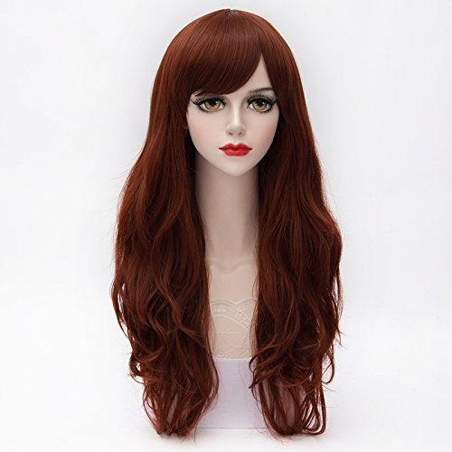 Wigs for Women Red Brown Wig Synthetic Women's Wigs 26Inch Long Wavy Wonderful Natural Wig (Red Wig With Bangs)