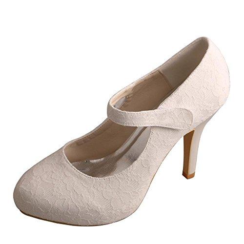 Wedopus MW337 Women Round Toe High Heels Bride Mary Jane Strap Pumps Platform Lace Wedding Shoes AQOBX