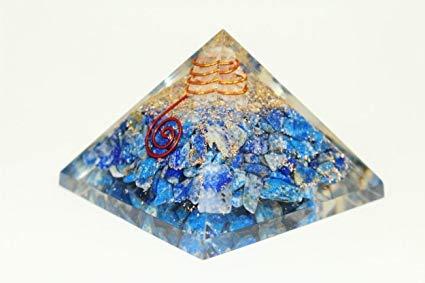 New Lapis Lazuli Chakra Orgone Pyramid Free Booklet jet International Crystal Therapy Crystal Gemstones Copper