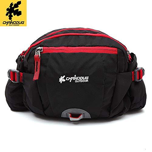 CHANODUG Durable Outdoor Waist Pack Water Bottle Holder,Travel Waist Belt Bag Pack Cover (BLACK)