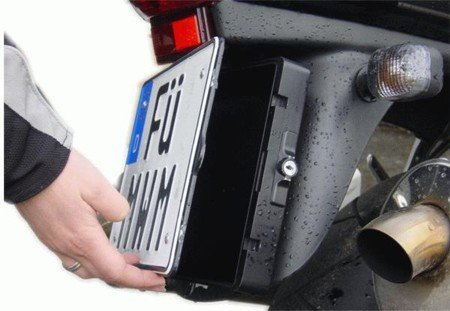 Motorcycle Licence Plate Storage Box - Fits behind licence plate!