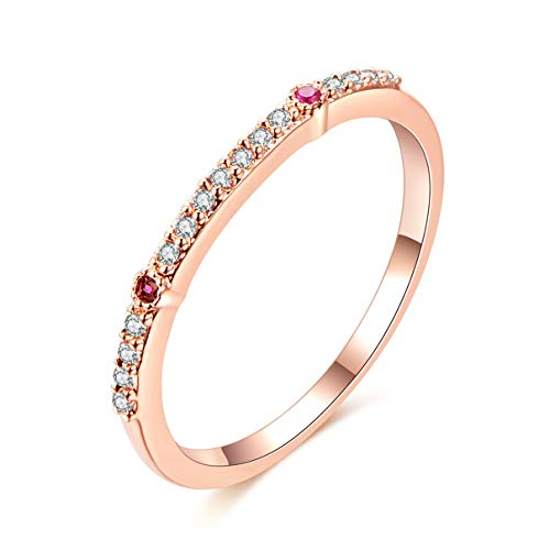 (Essencedelight Band Rings Simple Crystal Stackable Ring Eternity Bands Gold Plated Knuckle Finger Ring for Women Girls Party Accessories)