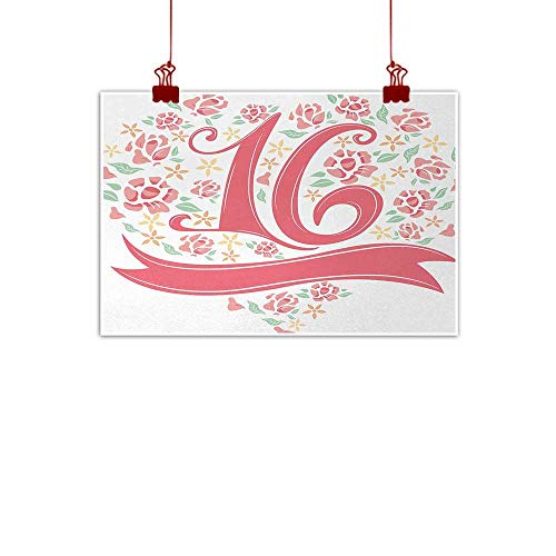 J Chief Sky Wall Painting Prints 16th Birthday,Floral Sweet Sixteen Typohraphy with Spring Floral Rose Petal Image,Dark Coral Mint 36
