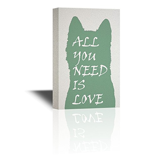 All You Need is Love Quotes on Dog Shaped Silhouette