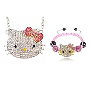 Allydrew Large Hello Kitty Crystal Pendant Necklace With Pink Bow + Pink & Gold Children's Kitty Shamballa Bracelet Set