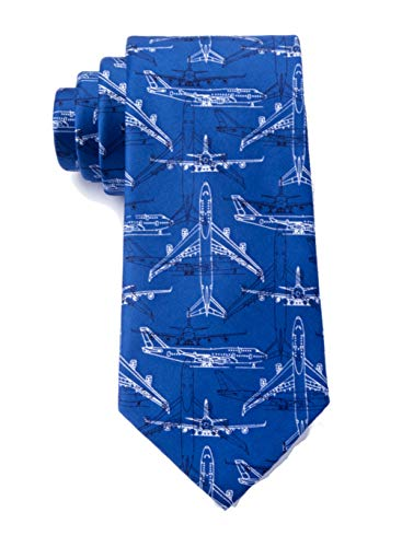 Men's Microfiber Boeing 747 Airplane Plane Pilot Aviation XL Extra Long Tie Necktie (Blue)