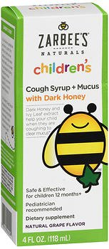 Zarbee's Natural Children's Cough Syrup + Mucus With Dark Honey Natural Grape Flavor- 4oz, Pack of 6 by Zarbee's