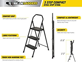 Marvelous Amazon Com Gorilla Ladders 3 Step Compact Steel Step Stool Pdpeps Interior Chair Design Pdpepsorg