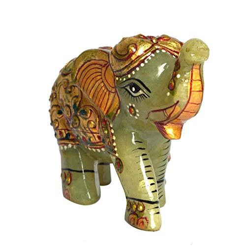 gemhub Green Jade Gem Statue Approximately 1000.00 Ct Elephant Home Decor, Show Piece, Lucky Figure, Eye Catching Statue