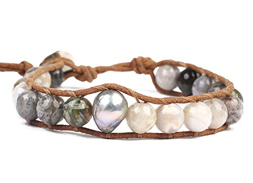 Chan Luu Grey Mineral Stone and Simulated Pearl Beaded Mix Silvertone Single Wrap Bracelet Style