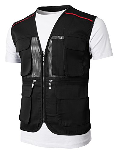 H2H Men's Outdoor Multifunction Multi-pocket Mesh Fishing Vest Of Line Point BLACK US M/Asia L (KMOV0146) by H2H