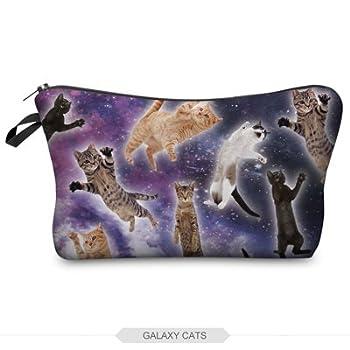 Hellathund Beauty Women In Hand Makeup Bag Clutch Storage Cosmetic Organizer (galaxy cats)