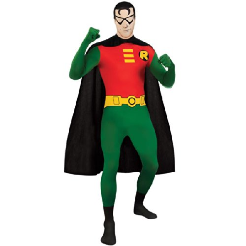 Superhero 2nd Skin Full Body Suit Adult Costume Robin - Green and Red - Medium