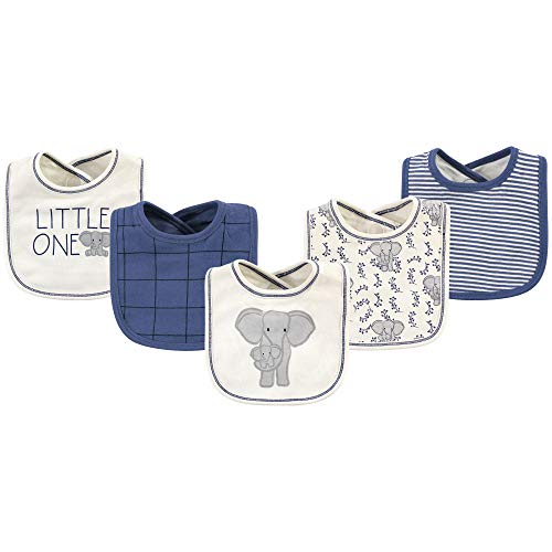 Touched by Nature Baby Organic Cotton Bibs, elephant 5 Pack, One Size ()