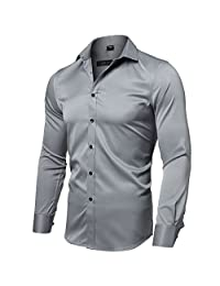 FLY HAWK Men's Button Down Bamboo Dress Shirt Casual Long Sleeve Slim Business Shirts