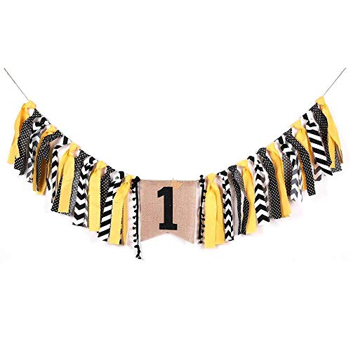 PALASASA Crown boy Black Yellow One Banner -Handmade First Birthday Decorations Burlap Highchair Banner 1st Birthday Baby Boy