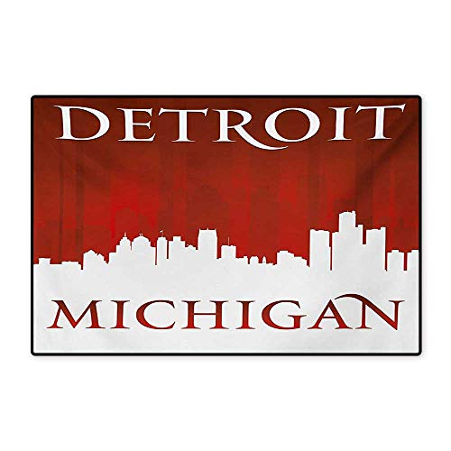Detroit Floor Mat for Kids Michigan City Silhouette Red and White Composition with Classical Typography Floor Mat Pattern 32