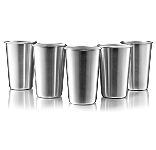 (Premium Stainless Steel Cups - 16 Oz Stainless Steel Pint Cup Tumblers - Eco-Friendly, BPA Free (5 Pack))