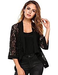 Women's Casual Lace Crochet Cardigan 3 4 Sleeve Sheer Cover Up Jacket Plus Size