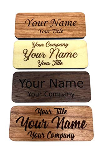 Fisharply Employee Name Tags (Cherry, 2.5 x 1) | Laser Engraved Custom Personalized Wood Name Tag w/Magnetic, Pin-on, or Adhesive Backing | Casual and Formal Styles for Any Business