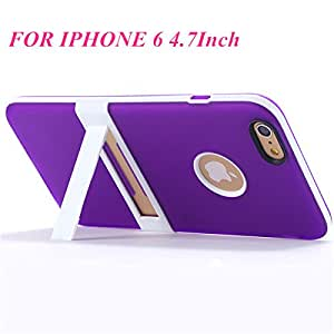 "Kickstand Phone Case For Iphone 6 6S 4.7"" & Plus 5.5"" Multi-Color Matte Pc Hard Bracket Stand Hybrid Cover Logo Hole For Apple-Purple For Iphone6"