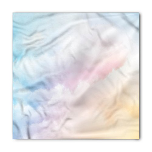 Clouds Bandana by Lunarable, Fluffy Dreamy Gradient Faded Pastel Cloud Ethereal Fog Sublime Rainbow Featured Print, Printed Unisex Bandana Head and Neck Tie Scarf Headband, 22 X 22 Inches, Blue ()