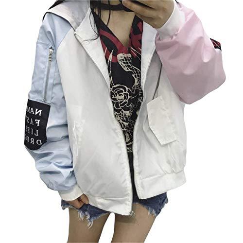 Donna Baseball Con Cucitura Rosa Colori Cappuccio Lunga Manica Autunno Giacche Primaverile Cerniera Sciolto Outerwear Casualei Fashion Eleganti Cappotto Giacca Pureed Chic FEPxvqZ